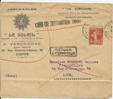 """Lettre De Dieppe Pour LOOS Marque """"LIEU DE DESTINATION ENVAHI"""" + Retour à L'envoyeur - Ohne Zuordnung"""