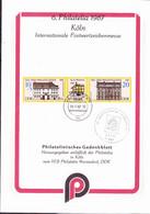 """DDR GDR RDA - Erinnerungsblatt """"VEB Philatelie Wermsdorf Auf Der 6. PHILATELIA Köln"""" (MiNr: WZd 722) - 1987 - Covers & Documents"""