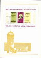 """DDR GDR RDA - Erinnerungsblatt """"150 Geb. Karl Marx"""" (MiNr: Block 27) Mit Sonderstempel K-M-Stadt Von Geburtstag - 1968 - Covers & Documents"""