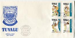 TUVALU ENVELOPPE 1er JOUR DES N°567 / 570 9e JEUX SPORTIFS DU PACIFIQUE-SUD EN PAPOUASIE ET NOUVELLE-GUINEE - Tuvalu
