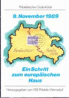 """DDR GDR RDA - Gedenkblatt """"9.November 1989"""" Von 9.11.89-21 [Zeitangabe = Aussage Von Schabowski In Der 'ak'] - Covers & Documents"""
