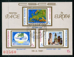 ROMANIA 1981 European Security Conference Block Used .  Michel Block 183 - Usati