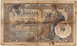 "MONTENEGRO , ITALIAN OCCUPATION WWII , 100 DINARA 1929 HANDSTAMP ""VERIFICATO"" - Romania"