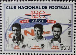 2019  URUGUAY Mnh 120 Years CLUB NACIONAL DE FOOTBALL SOCCER FUTBOL CHAMPION Ubiña -Esparrago -Hugo De León - Uruguay