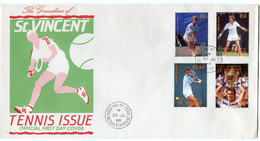 GRENADINES ST VINCENT ENVELOPPES 1er JOUR DES N°562 / 569 JOUEURS ET JOUEUSES DE TENNIS AVEC OBL. BEQUIA 29 JU 88 - Tennis