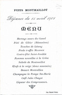 Menu    Hotel  Puits MONTMAILLOT  Menu Du 15 Avril 1901 - Menus