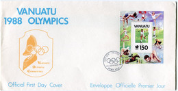 VANUATU ENVELOPPE 1er JOUR DU BF 11 JOUEUR DE TENNIS AVEC OBLITERATION PORT VILA 19 Th SEPTEMBER 1988 - Tennis