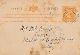 1 CARTE  Entier Postal  D' AUSTRALIE VICTORIA One Penny LITTLE RIVER 1893 VICTORIA TRAIN AUSTRALIA - Covers & Documents