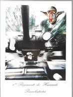 CPA°-DOUBLE-1970-1e Régiment De Hussards Parachutistes-Photo  Char-Non Ecrite-TBE - Regimientos