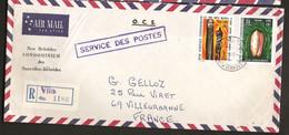 Nouvelles Hébrides 1972 N° 343 + 346 O Port-Villa, Coquillage, Olive, Escargot De Mer, Tambour, Mollusque, Sculpture - Storia Postale