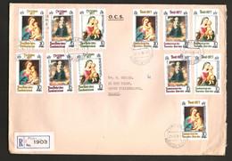 Nouvelles Hébrides 1977 N° 521 / 6 X 2 O Port-Vila, Noël, Tableaux, Madone, Raphaël, Fuite En Egypte, Âne, Batoni Pampeo - Storia Postale