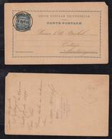 Portugal PONTA DELGADA 1895 Stationery Postcard To Cetinje Montenegro - Ponta Delgada