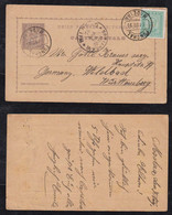 Portugal FUNCHAL 1895 Uprated Stationery Postcard MADEIRA To WILDBAD Germany Württemberg - Funchal