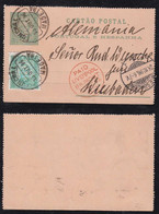 Portugal FUNCHAL 1896 Uprated Stationery Lettercard MADEIRA To WIESBADEN Germany Via LIVERPOOL - Funchal