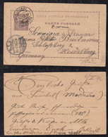 Portugal FUNCHAL 1896 Stationery Postcard MADEIRA To HEIDELBERG Germany - Funchal