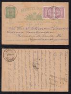 Portugal ANGRA 1893 Uprated Stationery Postcard ANGRA DO HEROISMO To SAN AUGUSTIN Argentina Railway Postmark - Angra