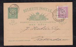 Portugal ANGRA 1893 Uprated Stationery Postcard ANGRA DO HEROISMO To ROTTERDAM Netherlands - Angra
