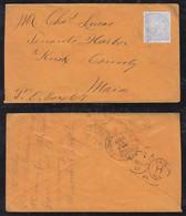 Portugal ANGRA 1894 Cover 50R VELAS To MAINE USA - Angra