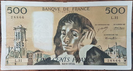Billet 500 Francs PASCAL 4 - 10 - 1973 FRANCE L.31 - 500 F 1968-1993 ''Pascal''