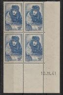 France N°461** Boc De 4 Coin Daté 10/11/41 Cote 83€ - Unclassified
