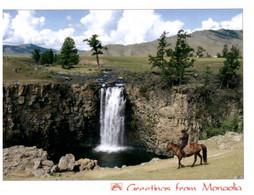 (S 18) Greetings From Mongolia (waterfall) - Mongolia