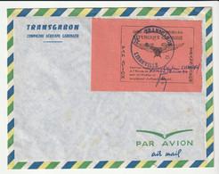 Lettre Transgabon De La Compagnie Aérienne Gabonaise,remise Au Pilote Capitaine Avec Vignette Par Avion - Gabon (1960-...)