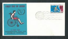 FREE SHIPPING     Burma Myanmar Birmanie 1981 FDC, Wheelchair, Disabled Persons - Myanmar (Birma 1948-...)