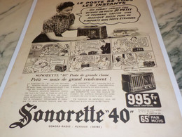 ANCIENNE PUBLICITE POSTE RADIO SONORETTE 40 1939 - Altri