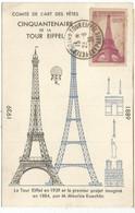FRANCE 90C SURTAXE TOUR EIFFEL CARTE MAXIMUM CINQUANTENAIRE 23.6.1939 PARIS + PAR BALLON - 1930-39