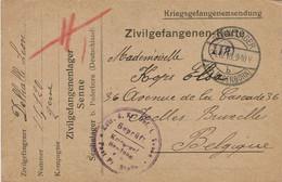 """Zivilgefangenen-Karte (DELHALLE Léon) Le 24-8-18 (écrite Le 5-8-1918)de SENNE à IXELLES + Censure + Cachet Facteur """"118"""" - Krijgsgevangenen"""