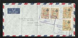 Iraq Air Mail Registered Postal Used Cover Iraq To Pakistan Saddam Huseen Stamps - Iraq