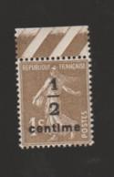 FRANCE / 1932 / Y&T N° 279A ** : Semeuse Camée Bistre-brun Olive 1/2c X 1 BdF Haut - Unused Stamps