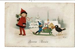 CPA-carte Postale -Belgique-Fantaisie-Bonne Année Une Fillette Un Traineau Et Un Corbeau -1933 VM22807 - Taferelen En Landschappen