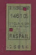 171020 - TICKET METROPOLITAIN 146105 2me CL Px 0.20 RASPAIL 76066 - Europe