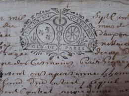 1726 - Cachet Généralité De Paris, Caducée De Médecine, 1 Sol 4 Décimes, Auxon, Famille Cotté - Gebührenstempel, Impoststempel