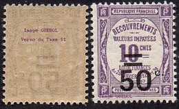France N° Taxe  51 ** De La Série Recouvrement Surcharge 50c Sur 10c Violet - 1859-1955.. Ungebraucht