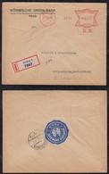 Czechia Czech Republic 1931 Registered Meter Cover PRAHA To MERGETHEIM Germany Union Bank - Covers & Documents