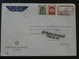 Lettre Par Avion Air Mail Cover Consulat De Suisse à Alger Algérie 1950 - Brieven En Documenten