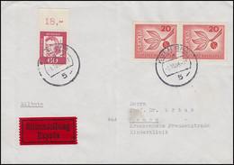 357 Friedrich Schiller 60 Pf Oberrandstück + 484 Paar, MiF Eil-Bf. KÖLN 1.10.65 - Non Classificati