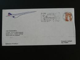 Lettre Vol Concorde Flight Cover Paris Tunisie Air France Affr. Sabine Oblit. 94 Rungis 1980 - Luftpost