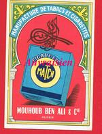Petit Calendrier 1956 Publicitaire MANUFACTURE De TABACS Et CIGARETTES MATCH MOUHOUB BEN ALI & Cie Alger - Calendari
