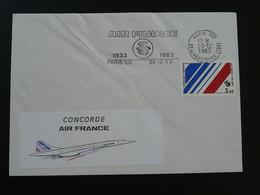 Lettre Cover Vignette Concorde Flamme Concordante Air France Paris 1983 - Vliegtuigen