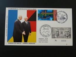 Carte Commemorative Card De Gaulle Adenauer Réconciliation Franco-allemande Colombey 52 Haute Marne 1988 (ex 1) - De Gaulle (General)