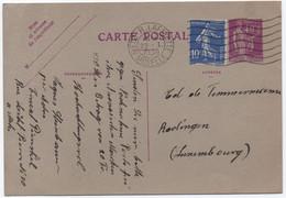 Tarif Postal Réduit Spécial FRANCE > LUXEMBOURG Carte Postale 50c (< 90c) Entier PAIX + Semeuse METZ 1936 SUP! - Storia Postale