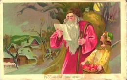 Santa Claus Reading Letter, Gift Bag, Pre 1940 - Santa Claus