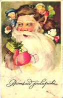Santa Claus With Gifts And Kids, Pre 1940 - Santa Claus