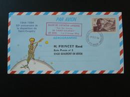 Entier Postal Stationery Aerogramme Saint-Exupéry Oblit. Salon De L'aviation Ancienne Bron 69 Rhone 1994 - Aerogrammen
