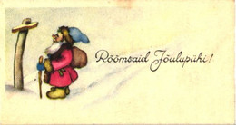 Santa Claus Reading Sign, Small Size Card, Pre 1940 - Santa Claus
