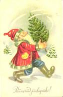 Santa Claus With Christmas Tree, Pre 1940 - Santa Claus