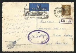 Great Britain England 1972 Pakistan Censorship KR - 25 Censor With Slogan Postmark Air Mail  Postal Used Picture Postcar - 1952-.... (Elisabetta II)
